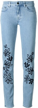 Victoria Victoria Beckham Leaves Embroidery Skinny Jeans