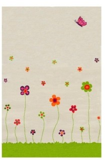 "IVI Esta Cream Soft Nursery Rug with a Playful Design - 72""L x 54""W Playmat"