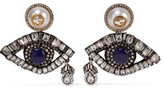 Gucci Gold-plated, Swarovski Crystal And Faux Pearl Clip Earrings - Silver