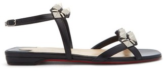 Christian Louboutin Galerietta Studded Leather Sandals - Black Silver