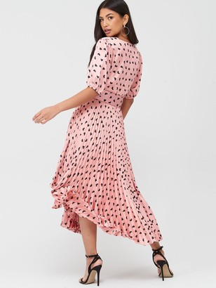U Collection Forever Unique V-neck Pleated Midi Dress - Pink