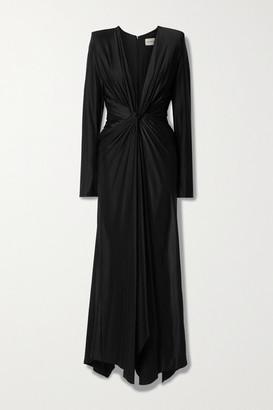 Alexandre Vauthier Twist-front Ruched Satin-jersey Gown - Black