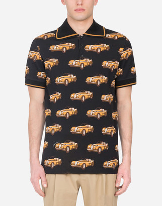 Dolce & Gabbana Cotton Polo Shirt With Small Car Print