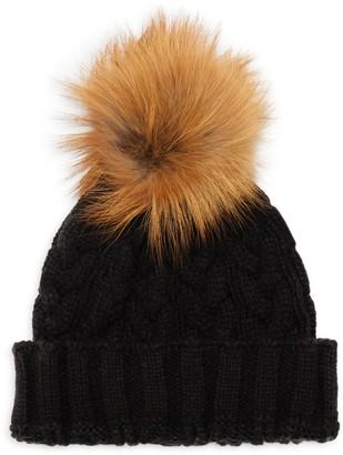 Adrienne Landau Fox Fur Pom Pom Cable-Knit Hat