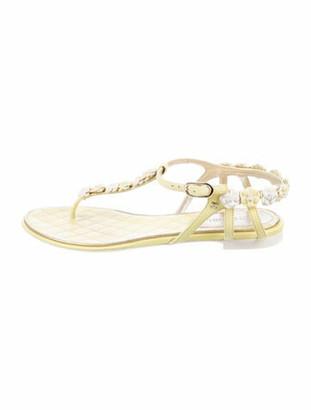 Chanel Interlocking CC Logo Leather T-Strap Sandals Yellow