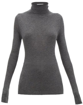Raey Roll-neck Fine-rib Cashmere Sweater - Womens - Charcoal