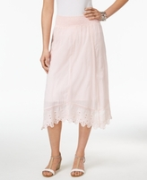 Style&Co. Style & Co Style & Co Petite Cotton Handkerchief-Hem Eyelet Midi Skirt, Created for Macy's
