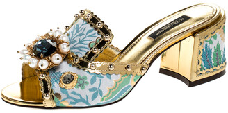 Dolce & Gabbana Multicolor Brocade Fabric And Patent Leather Trim Crystal Embellished Open Toe Sandals Size 36.5