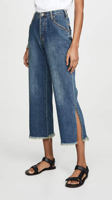 One Teaspoon Dirty Indigo Libertines High Waist Cropped Wide Leg Jeans