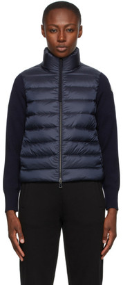 Moncler Navy Down Cardigan