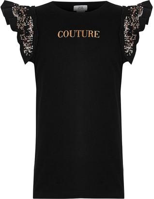 River Island Girls black 'Couture' print T-shirt