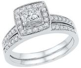 3/4 CT. T.W. Round Diamond Prong and Pave Set Bridal Ring in 10K White Gold