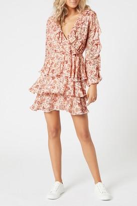 MinkPink Terracotta Dweller Paisley Ruffled Long Sleeve Mini Dress