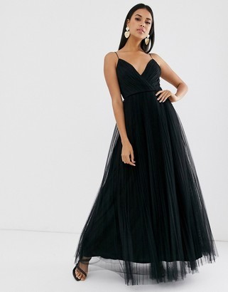 ASOS DESIGN cami pleated tulle maxi dress in black