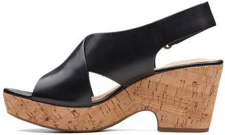 Clarks Maritsa Lara Leather Chunky Heeled Sandals - Black