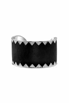 House Of Harlow Palladium Crystal Pave Cuff with Black Leather