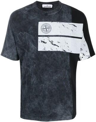 Stone Island stonewashed-print cotton T-shirt