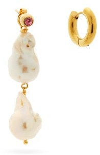 Timeless Pearly Mismatched 24kt Gold-plated & Pearl Hoop Earrings - Pearl