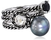 "Honora Skinny Jeans"" Black Freshwater Cultured Pearl with Gemstone Stackable Ring, Size 7"