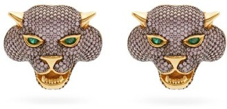 BEGÜM KHAN Crazy Cat 24kt Gold-plated Clip Earrings - Pink Multi