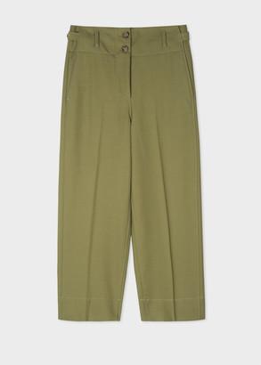 Paul Smith Women's Green Wool-Cotton Belted Wide Leg Trousers
