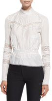 Derek Lam 10 Crosby Pintucked Silk Lace-Trim Blouse, Soft White