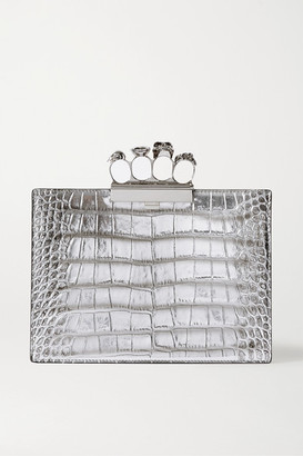 Alexander McQueen Four Ring Metallic Croc-effect Leather Clutch - Silver