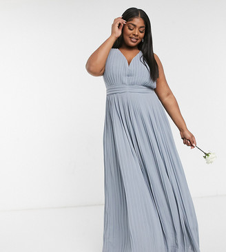 TFNC Plus bridesmaid pleated sleeveless maxi dress in dusty blue