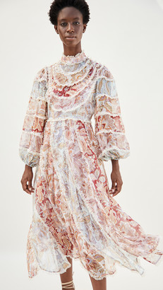 Zimmermann Ladybeetle Spliced Midi Dress