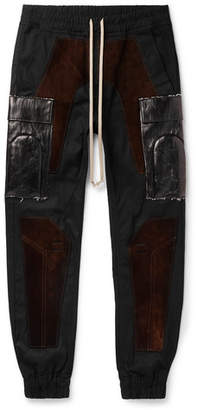 Rick Owens Slim-Fit Tapered Suede-Panelled Tech-Canvas Cargo Trousers