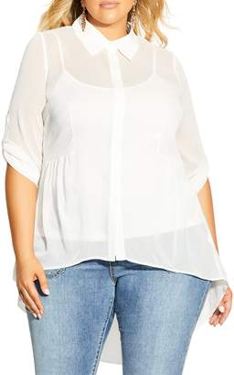 City Chic High/Low Button-Up Shirt