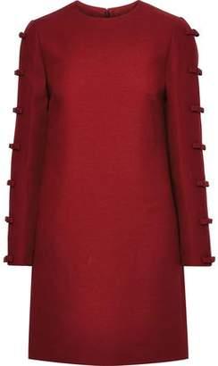 Valentino Bow-embellished Wool And Silk-blend Mini Dress