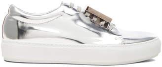Acne Studios Adriana Metallic Sneakers in Silver | FWRD