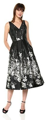 Carmen Marc Valvo Women's V Front and Back Pleated Party Dress Black/Ivory 12