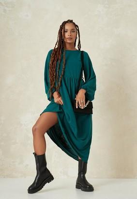 Missguided Green Oversized Midi Smock Dress