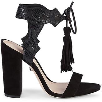 Schutz Hilda Suede Leather Heeled Sandals
