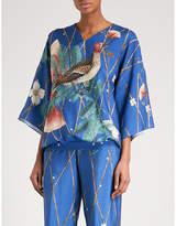 ALENA AKHMADULLINA Bird-print silk top