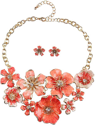 Ella & Elly Women's Earrings Orange - Coral & Goldtone Floral Cluster Statement Necklace & Earrings Set