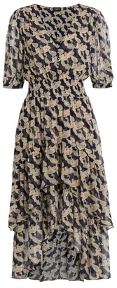 The Kooples Paisley Ruffle Midi Dress