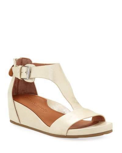 Gentle Souls Gisele Metallic Leather Demi-Wedge T-Strap Sandals