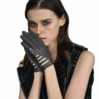 Fioretto Womens Driving Leather Gloves Italian Genuine Nappa Punk Rivets Strip Unlined - grey - 7.5