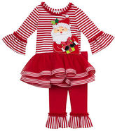 Rare Editions Baby Girls Santa Graphic Dress and Leggings Set