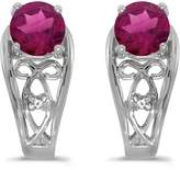 Direct-Jewelry 14k White Gold Round Rhodolite Garnet And Diamond Earrings