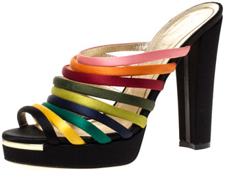 Fendi Multicolor Satin Platform Wedge Ankle Strap Sandals Size 39