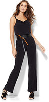 New York & Co. Hardware-Accent Draped Jumpsuit - Black