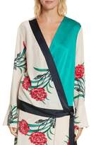 Diane von Furstenberg Bell Sleeve Crossover Silk Blouse