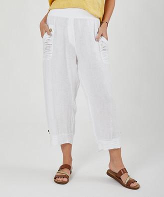 Ornella Paris Women's Casual Pants - White Linen Harem Pants - Women & Plus