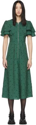 ALEXACHUNG Green Zip Detail Long Dress
