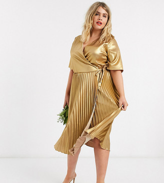 TFNC Plus wrap front pleated midi dress in gold