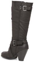 Dorothy Perkins Black strap heeled knee boots